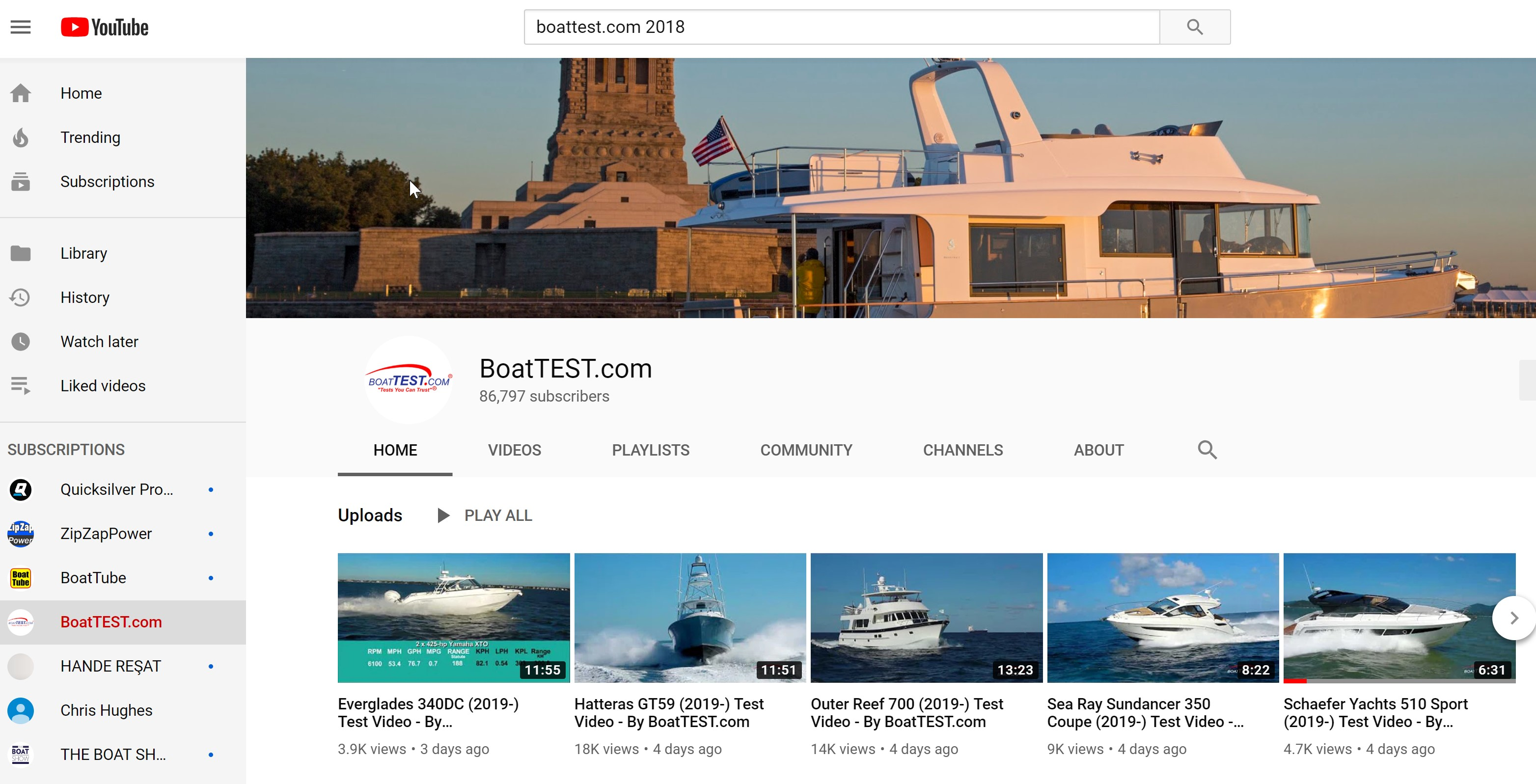 BoatTEST on YouTube