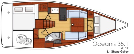 Beneteau Oceanis 35.1 head shower layout
