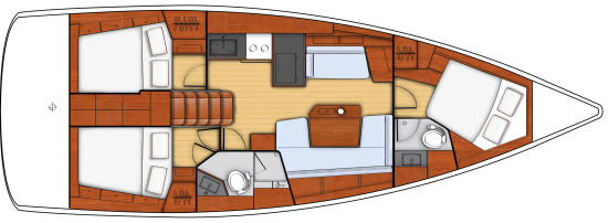 Beneteau Oceanis 41.1 three cabin layout