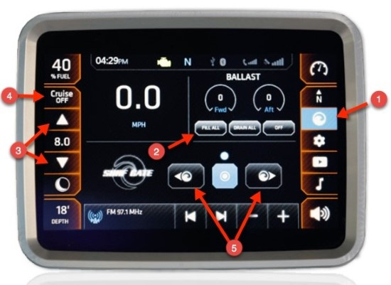 Chaparral 227 SSX Surf touch screen