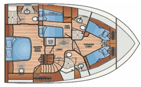 Fleming Yachts 78 accommodations layout