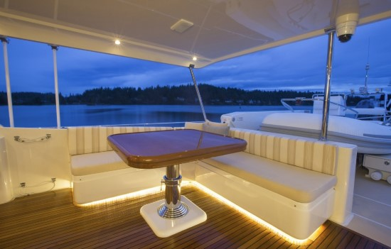 Fleming Yachts 78 teak table