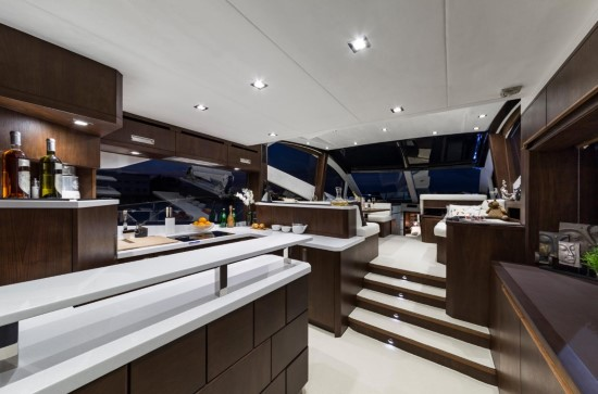 Galeon 560 Skydeck Dark Walnut Interior