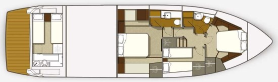 Galeon 560 Skydeck Accommodations Layout