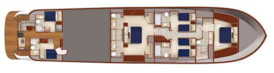 Hatteras 100 Raised Pilothouse accommodations layout