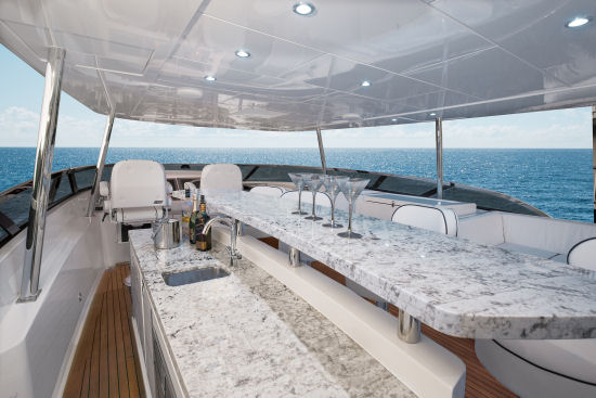Hatteras 100 Raised Pilothouse counter top
