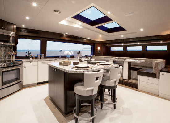 Hatteras 100 Raised Pilothouse country kitchen