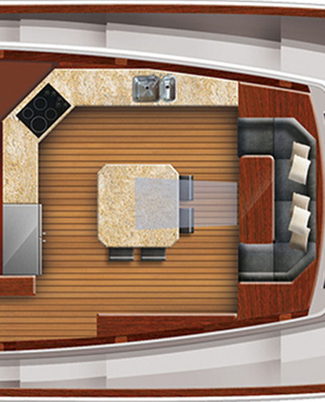 Hatteras 100 Raised Pilothouse country kitchen layout