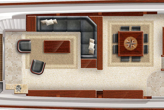 Hatteras 100 Raised Pilothouse dining room layout
