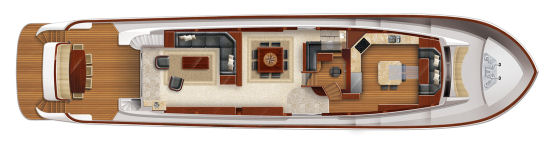 Hatteras 100 Raised Pilothouse square dining table