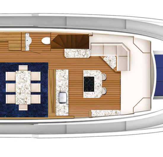 Hatteras 70 Motor Yacht dining layout