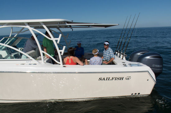 Sailfish 325 DC freeboard