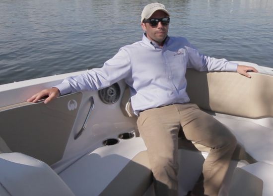 Scarab 255 Platinum SE bow facing aft