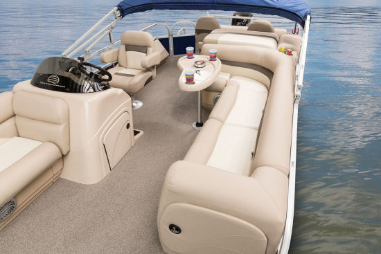 Sun Tracker Fishin Barge 24 XP3 l-shaped couch